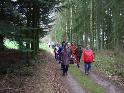 Afgang i samlet trop fra Gantrup en søndag formiddag i halvlunt vintervejr